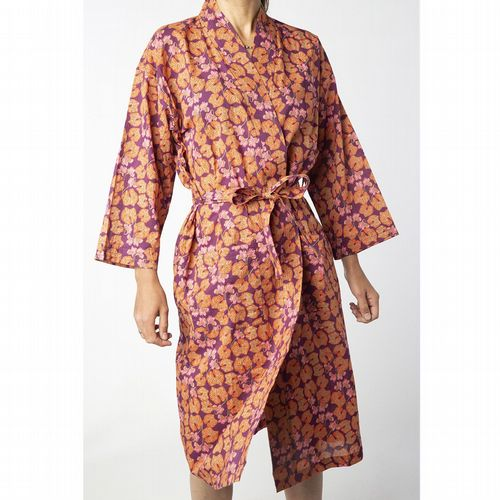 Printed Cotton Robe - Cyclamen Fig